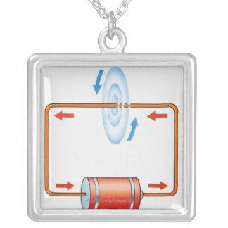 Illustration of electric current producing silver plated necklace