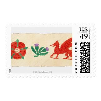 Illustration of English Rose, Scottish Thistle, Postage Stamp