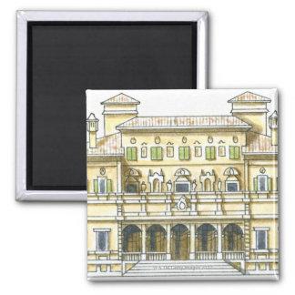 Illustration of facade of 17th century Galleria 2 Inch Square Magnet