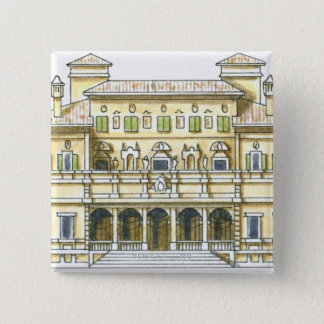 Illustration of facade of 17th century Galleria Pinback Button