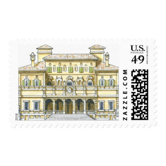 Illustration of facade of 17th century Galleria Stamps