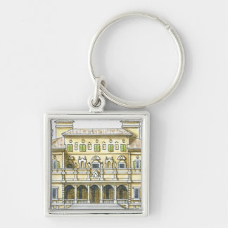 Illustration of facade of 17th century Galleria Silver-Colored Square Keychain