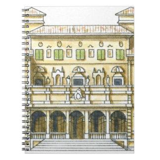 Illustration of facade of 17th century Galleria Spiral Notebook