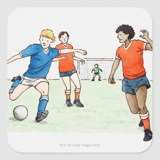 Illustration of footballers playing square sticker