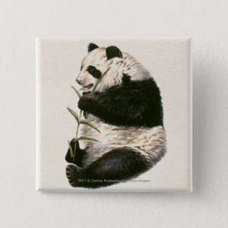 Illustration of Giant panda feeding on bamboo Pinback Button