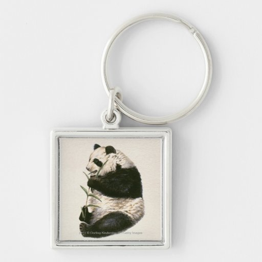 Illustration of Giant panda feeding on bamboo Silver-Colored Square Keychain