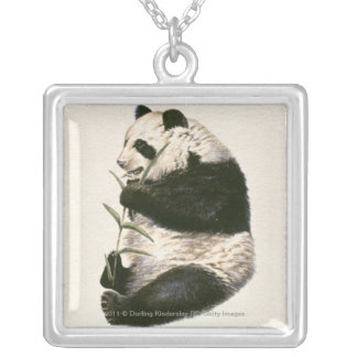 Illustration of Giant panda feeding on bamboo Silver Plated Necklace