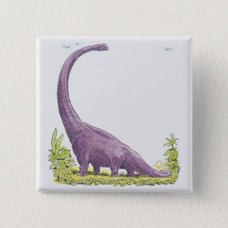 Illustration of Giraffatitan dinosaur Pinback Button