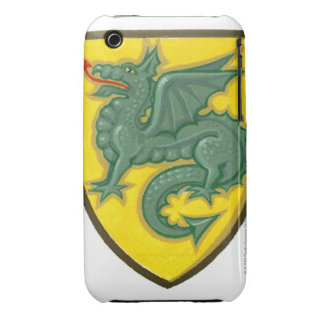 Illustration of green dragon sticking out red iPhone 3 cases