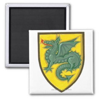 Illustration of green dragon sticking out red refrigerator magnets