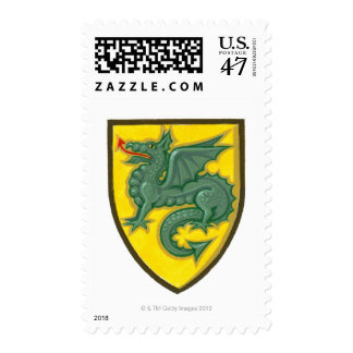 Illustration of green dragon sticking out red postage