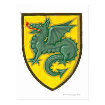 Illustration of green dragon sticking out red postcard