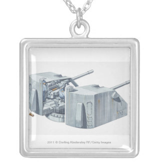 Illustration of gun turret on a WW2 battleship Square Pendant Necklace