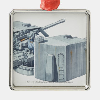 Illustration of gun turret on a WW2 battleship Christmas Ornament