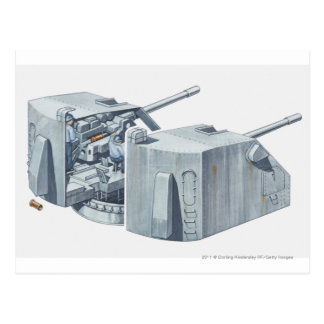 Illustration of gun turret on a WW2 battleship Postcards