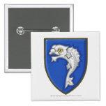 Illustration of heraldic fish symbol on shield pinback buttons