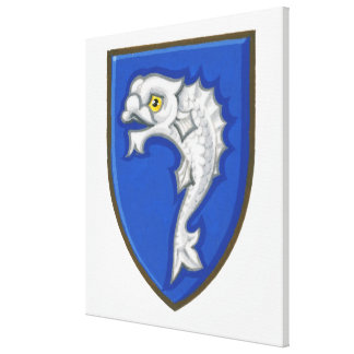 Illustration of heraldic fish symbol on shield canvas print