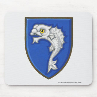 Illustration of heraldic fish symbol on shield mousepads