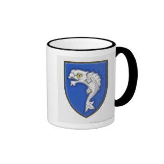 Illustration of heraldic fish symbol on shield mug