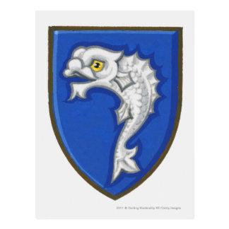 Illustration of heraldic fish symbol on shield postcard