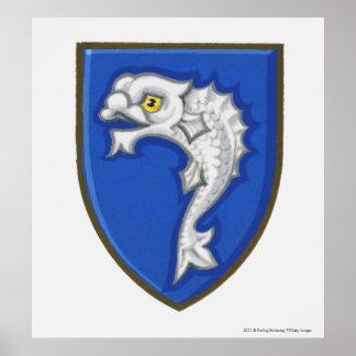 Illustration of heraldic fish symbol on shield poster