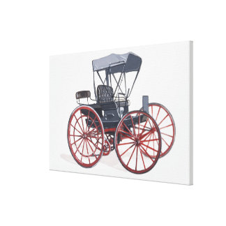 Illustration of horseless carriage canvas print