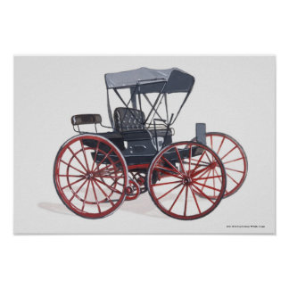 Illustration of horseless carriage poster