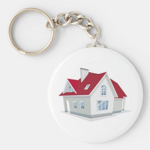 illustration-of-house1 basic round button keychain