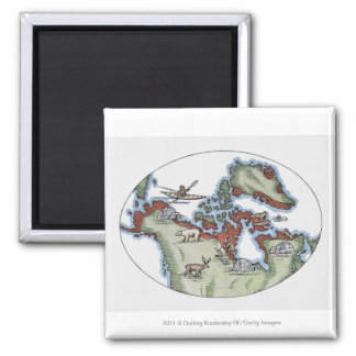 Illustration of Inuit territory 2 Inch Square Magnet