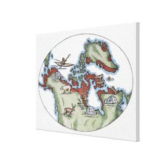 Illustration of Inuit territory Canvas Print