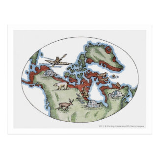 Illustration of Inuit territory Post Card