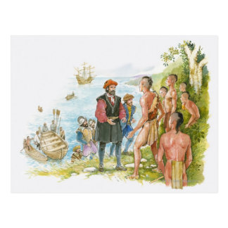 Illustration of Jacques Cartier conversing with Postcard