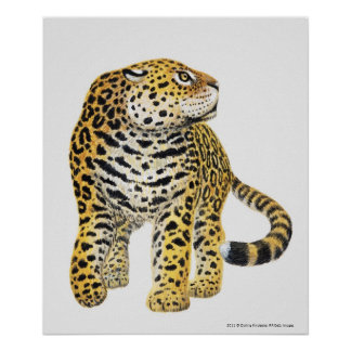 Illustration of Jaguar with head in profile Poster