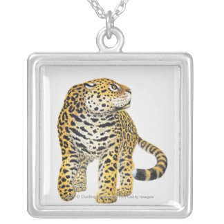 Illustration of Jaguar with head in profile Square Pendant Necklace