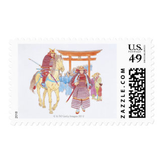 Illustration of Japanese Samurai leading Postage Stamps