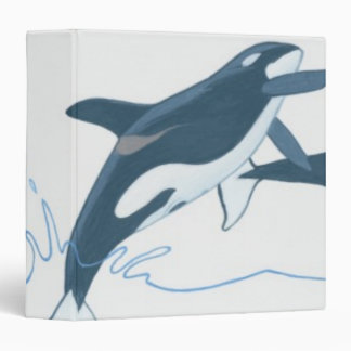 Illustration of Killer Whales (Orcinus orca) 3 Ring Binder