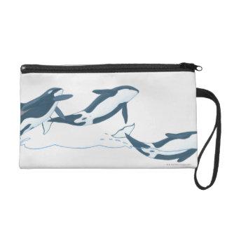 Illustration of Killer Whales (Orcinus orca) Wristlet Purse