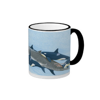 Illustration of Killer Whales working in a group Coffee Mugs
