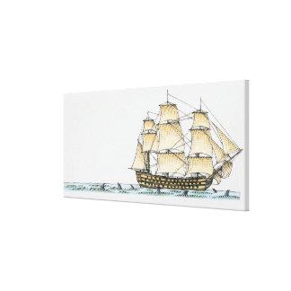 Illustration of late 18th century warship canvas print
