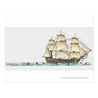 Illustration of late 18th century warship postcards