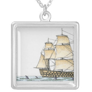 Illustration of late 18th century warship square pendant necklace