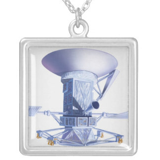 Illustration of Magellan spacecraft Silver Plated Necklace
