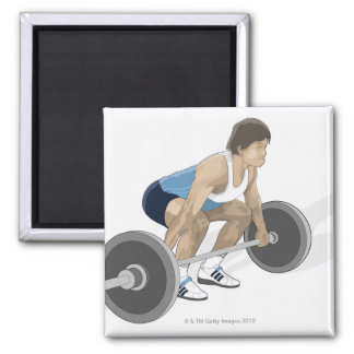 Illustration of man crouching preparing to lift 2 inch square magnet