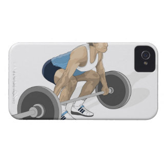 Illustration of man crouching preparing to lift iPhone 4 cover