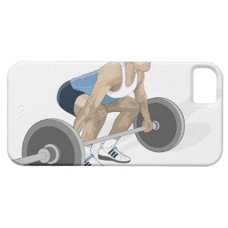 Illustration of man crouching preparing to lift iPhone SE/5/5s case