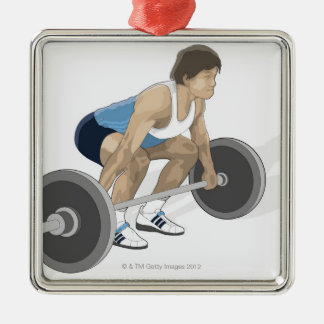 Illustration of man crouching preparing to lift metal ornament