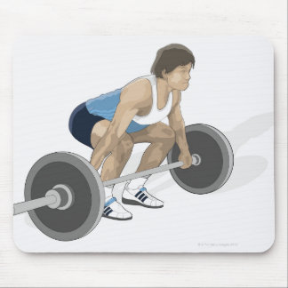 Illustration of man crouching preparing to lift mouse pad