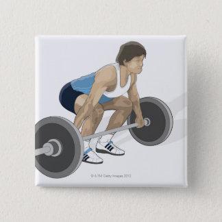 Illustration of man crouching preparing to lift pinback button