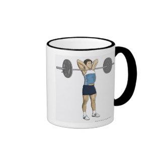 Illustration of man performing upright row mugs
