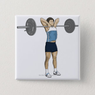 Illustration of man performing upright row pinback button
